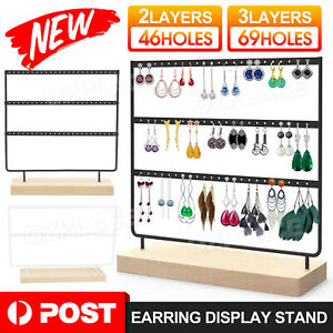 up to 3Layer Wooden Earring Display Stand Holder Jewelry Necklace Rack Organizer