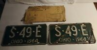 Vintage Pair of 1964 Ohio License Plate Green S49E