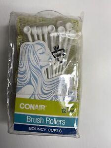 12 Conair Brush Rollers Bouncy Full Curls Fine Hair Curlers Vented Plastic Pins