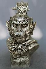 "9"" Chinese silver Sun Wukong head Statue Collection Handmade Monkey Decoration"