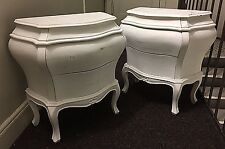 Vintage 50/60s Pair Italian Bombe Commodes Night/Sides Stands Baroque Wood White