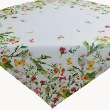 Tischdecke 85 x 85 cm Mitteldecke Ostern Frühling weiß bunt Blumen Tischdeko