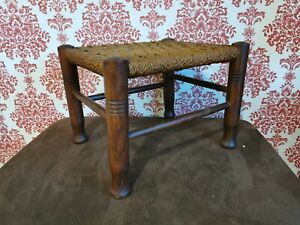VINTAGE SMALL WOODEN WOVEN WICKER RATTAN FOOTSTOOL STOOL PLANT STAND