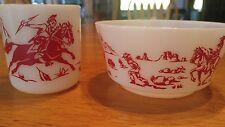 Vintage Hazel Atlas Child's Cereal Bowl and Mug Cowboys Indians Buckaroo