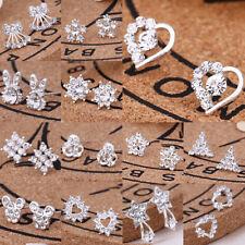 Fashion Women  Crystal Rhinestone Ear Studs Silver wedding Jewelry Earrings