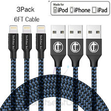 3 Pack 6 Ft Lightning Cable iPhone X 8 7 6 5 USB Charging Cord Heavy Charger New