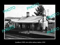 OLD POSTCARD SIZE PHOTO OF LYNDHURST NSW VIEW OF THE RAILWAY STATION c1910