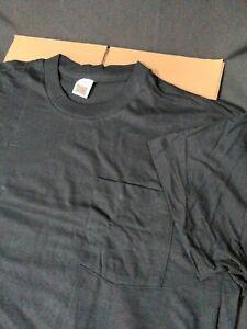 VTG 80s Single Stitch Pocket Blank T-Shirt Men's Size XL FOTL USA Made Black