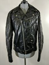 TRUE VINTAGE WOMENS LEATHER MOTORCYCLE JACKET GINO 80s Sz L 40 MADE IN Brazil
