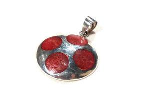 Bijou argent 925 pendentif rond pierre rouge  pendant