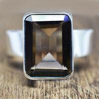 925 Sterling Silver Smoky Quartz gemstone ring size 9 US 6.93 gms