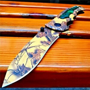 Drop Point Folding Knife Pocket Flipper Hunting Survival Combat Aluminum Handle