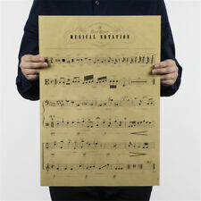 musical notation kraft paper posters customer bedroom background wall stickers >