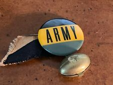 1940s Army Football Pin Button with ribbon and football charm