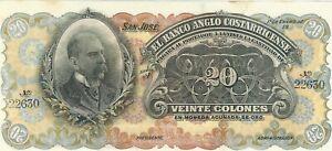 3 banknotes Costa Rica 20 colones 1909 1917 S124 UNC 1 and 5 colones S121 S122