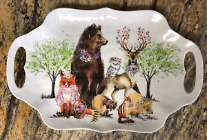 Animals Dressed For A Party Serving Tray Michel Design Works Used VGC Melamine