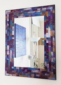 Rectangular mosaic wall mirror purple & blue handmade in Bali 40cm NEW