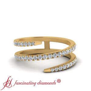Half Carat Round Cut Diamond Spiral Design Wedding Ring For Women In Yellow Gold