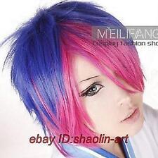 Vocaloid meiko bleu/rose mixte animation Cosplay fête plein cheveux perruques