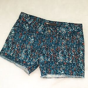 Levi's Women's 6 Blue Orange Printed Denim Cutoff Shorts