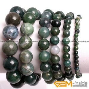 """4-14mm Gemstone Natural Green Moss Agate Round Beaded Stretchy Bracelet 7"""" YB"""