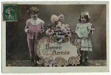 Carte postale ancienne | Enfants | Bonne année | Pancarte décorée