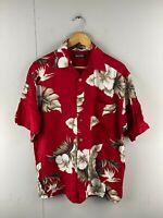 Puritan Men's Vintage Short Sleeve Hawaiian Shirt - Red - Size Medium