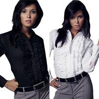 Chemisier chemise jabot noire blanche femme manche longue Nife K01 36 38 40 42