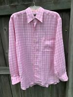 ERMENEGILDO ZEGNA Pink Long Sleeve 100% Linen Check Casual Dress Shirt LARGE