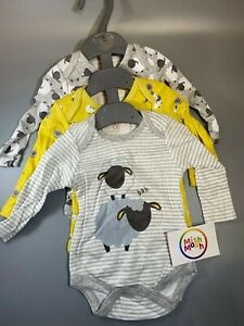 SALE baby boys girls grey sheep farm animals long sleeve vests bodysuits rompers