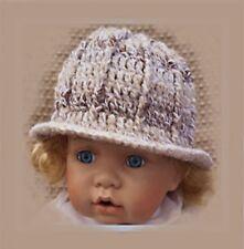 CROCHETED BABY GIRLS WINTER CLOCHE HAT shower gift photoprop blue winter 24 brim