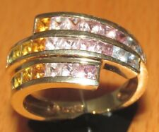 SECONDHAND 14ct YELLOW GOLD MULTI COLOURED MULTI SAPPHIRE SWIRL BAND SIZE N