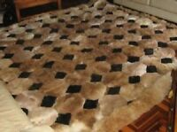"New 52"" x 71"" Brown Alpaca Rug. ""Octagon"" Design. Soft fur. 1.30m x 1.80m"