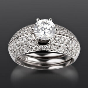 18 KT WHITE GOLD DIAMOND RING MATCHING BANDS SET 2 1/4 CARATS WOMEN COLORLESS