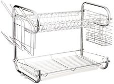 Uniware 17777-16  Double Dish Kitchen Rack with Glass and Utensil Holder-16 Inch