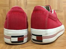 Vintage🔥 Tommy Hilfiger Red Canvas Brown Gum Soles Sailing Sneakers Boating 8.5