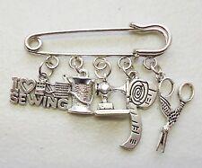 I Love Sewing Scissors Reel Needle Machine Tape Measure Brooch Kilt Pin Craft