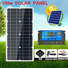 30-200W Monocrystalline Solar Panel Kit w/ Dual USB Flexible Controller Car Boat
