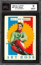 1960 61 TOPPS HOCKEY #27 ART ROSS KSA 9 MINT ALL TIME GREATS BOSTON BRUINS HOF