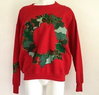 Ugly Christmas Sweater Vintage Handmade L Large Sweatshirt Red Green Applique