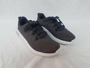 New Boy's UA Grade School Ripple Sneakers Black & Grey Combination