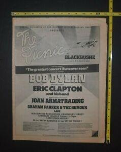 Bob Dylan Vintage 1978 Concert Ad The Picnic U.K. Festival Eric Clapton