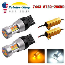 2x 7443 Switchback Dual Color White/Amber 20SMD LED Turn Signal Lights+Resistors