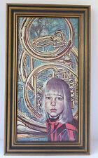 Vintage  1966 SIEGFRIED REINHARDT   GIRL w/ Horns Musical Lithograph Print FRAME