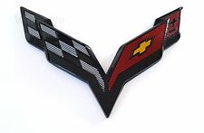 CORVETTE 6.12 inch BLACK CARBON FLASH EMBLEM STINGRAY CROSS FLAGS C7 Rear Trunk