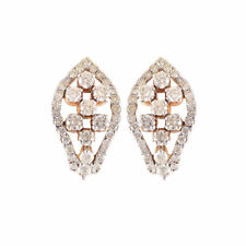 1.50 Cts Round Brilliant Cut Pave Diamonds Stud Earrings In Fine 18K Yellow Gold