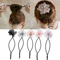Pearl Flower Hair Bun Twist Tool Women Headwear Headband Hairband Hair Braider