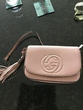 Gucci Style Pink Hand Bag With Long Shoulder Strap, Dusky Pink