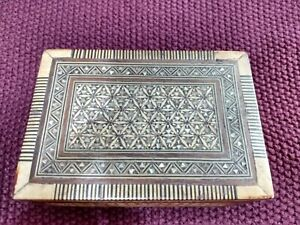 Antique  Middle Eastern / Egyptian wood & MOP Inlaid Marquetry Box.