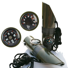 7 in 1 Military Emergency Whistle Kit SOS Survival Compass LED Light Outdoor